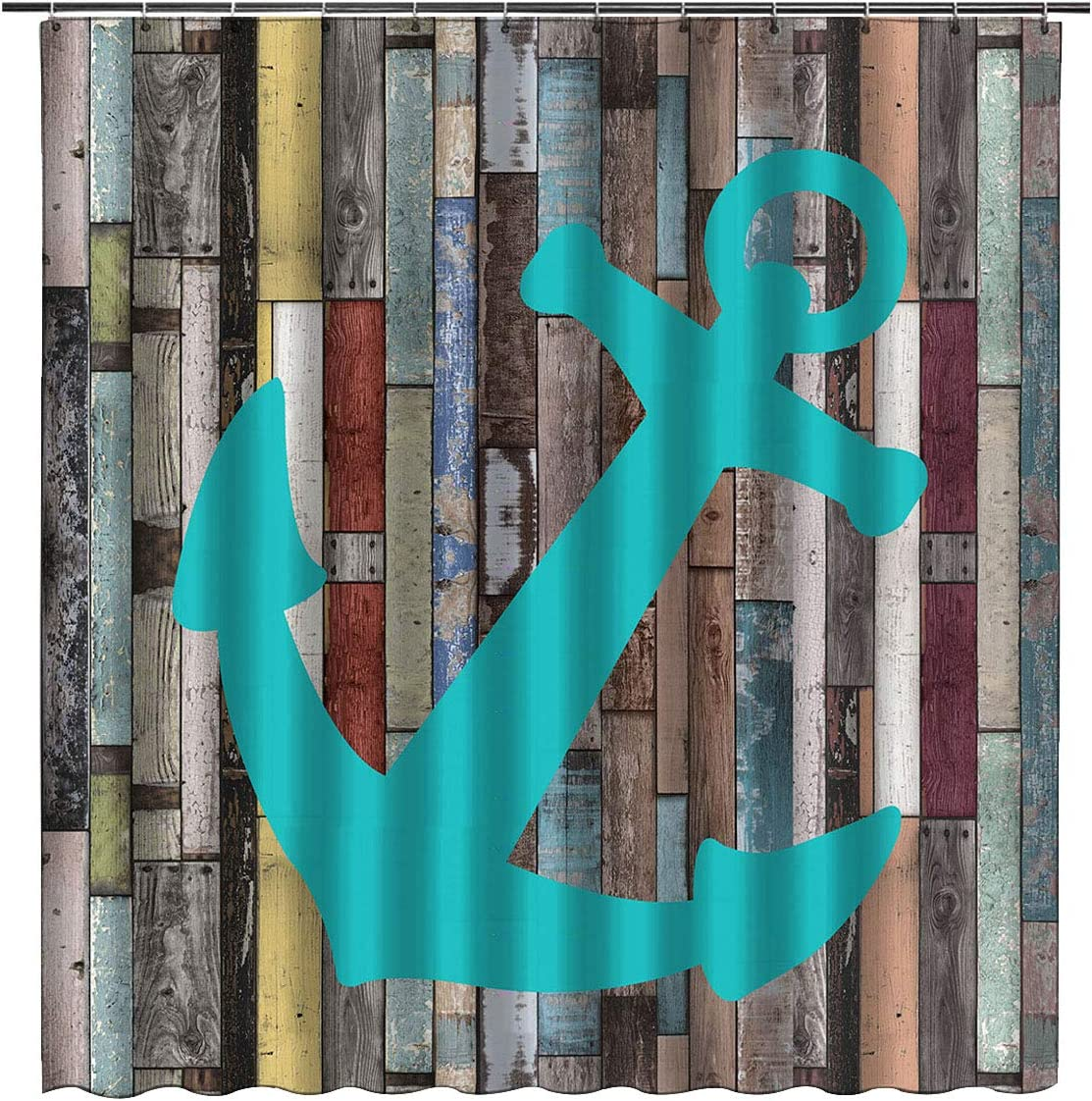 Nautical Turquoise Anchor Shower Curtain 66x72inch - Rustic Blue Grey Wooden Planks Waterproof Fabric Bathroom Curtain Cloth Bathroom Decor