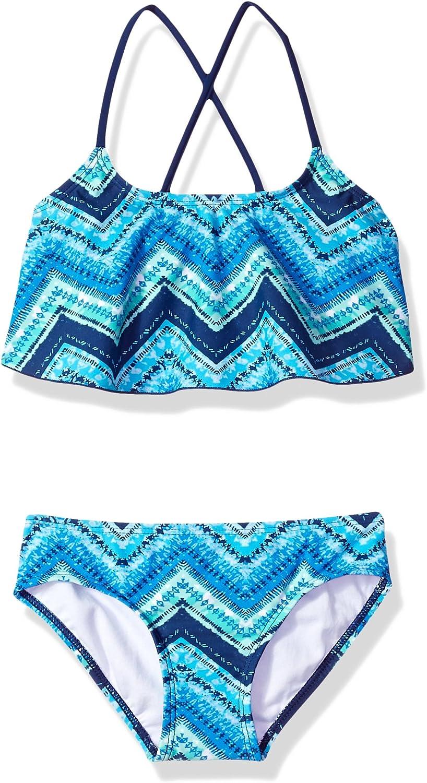 Kanu Surf Girls Kirsten Chevron Flounce Bikini Beach Sport 2-Piece Swimsuit Two Piece Swimsuit