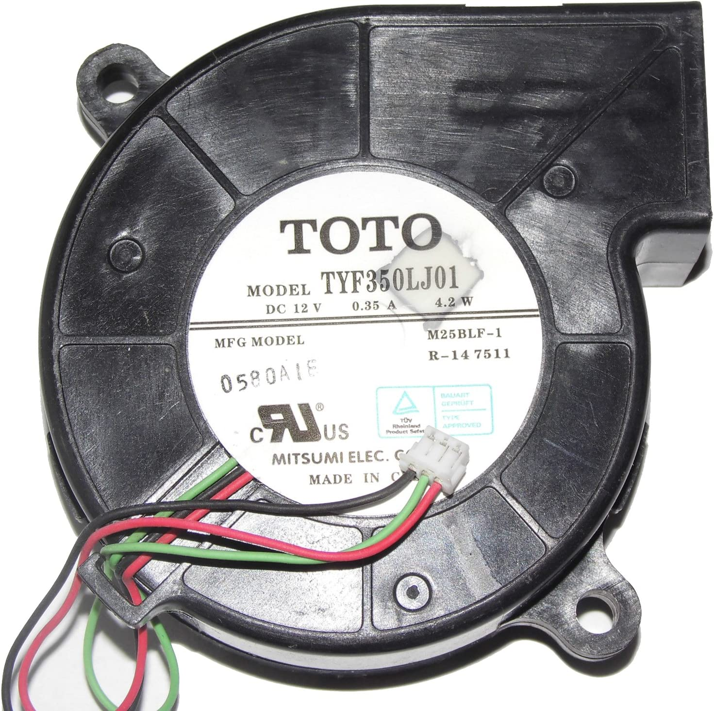 TOTO TYF350LJ01 M25BLF-1 12V 0.35A 4.2W 3Wire Cooling Fan