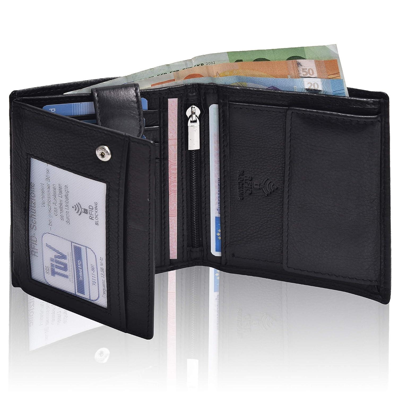 69584bc6265de Hochwertige Ledergeldbörse für Sie   Ihn – Mundial® RFID- Schutz echtes Leder  Damen Herren Hochformat Geldbeutel Portemonnaie Brieftasche Geschenk Damen-  ...
