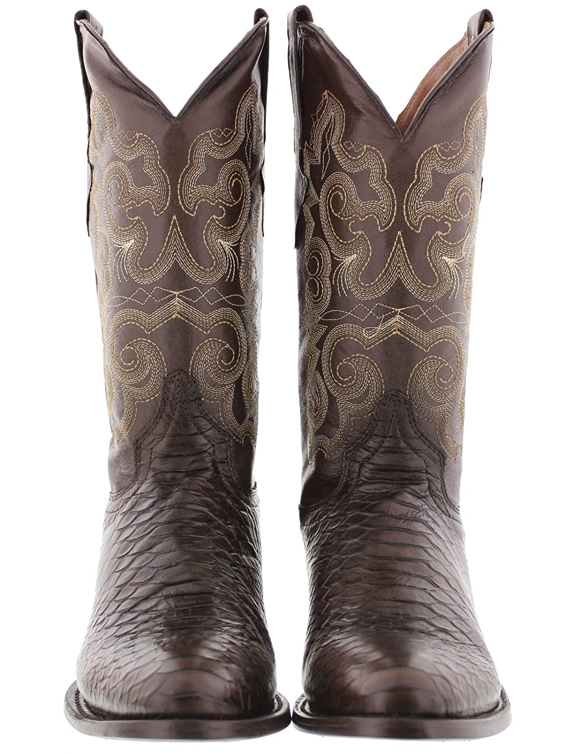 Mens Brown Python Snake Print Leather Cowboy Boots Round Toe Team West