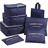 Mossio 7 Set Packing Cubes with Shoe Bag - Travel Carry On Luggage Organizer Blue Circle
