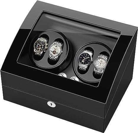 Estuche bobinadora para relojes, Cargador para relojes automáticos Rolex, estuche de madera + acabado piano + motor japonés, aloja hasta 10 relojes: Amazon.es: Hogar