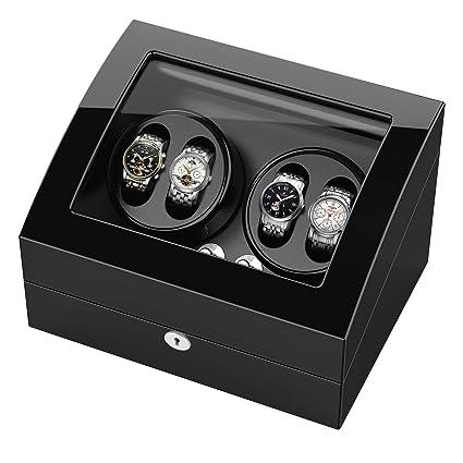 Estuche bobinadora para relojes, Cargador para relojes automáticos Rolex, estuche de madera + acabado piano + motor japonés, aloja hasta 10 relojes