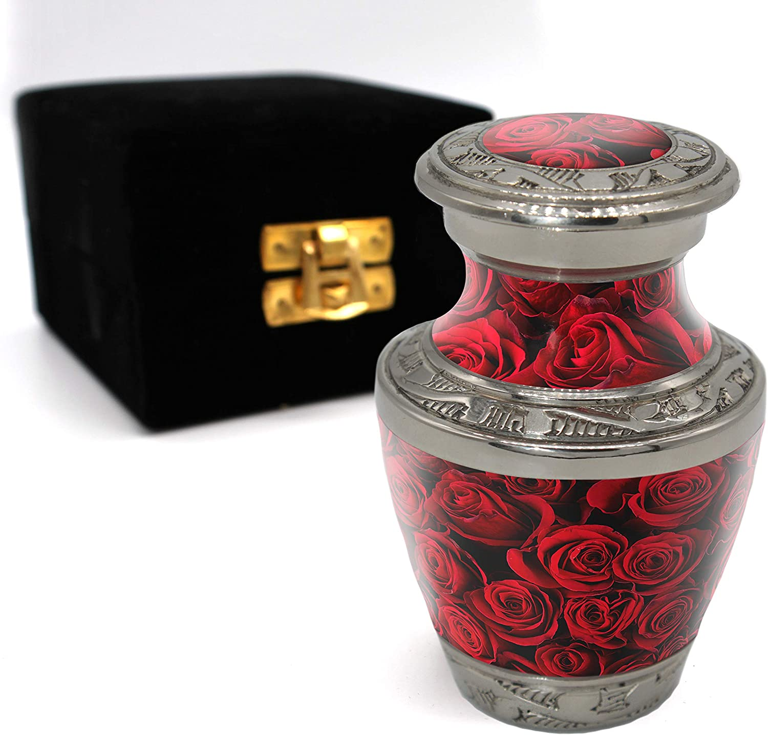 Crimson Rose Cremation Urns for Adult Ashes for Funeral, Burial, Niche or Columbarium, 100% Brass, Cremation Urns for Human Ashes Adult 200 Cubic inches (Crimson Rose, Small / Keepsake)