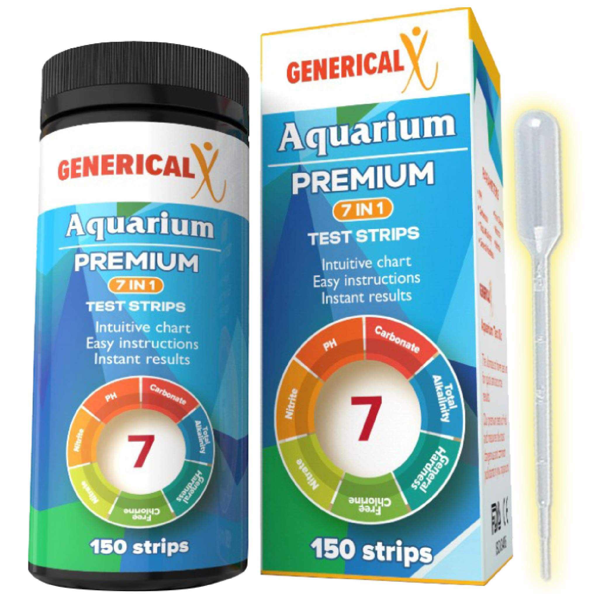 Aquarium Test Strips Kit 7 Parameter (FDA Approved 150 Strips) for: ✓Nitrite ✓pH ✓Free Chlorine ✓Carbonate ✓Total Alkalinity ✓General Hardness ✓Nitrate Safe for Freshwater Saltwater or Ponds by Generical X