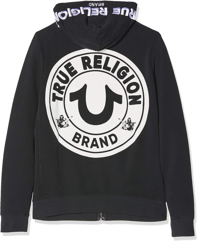 True Religion Herren Hooded JKT Multilogo Black Kapuzenpullover Schwarz (Black 1001)