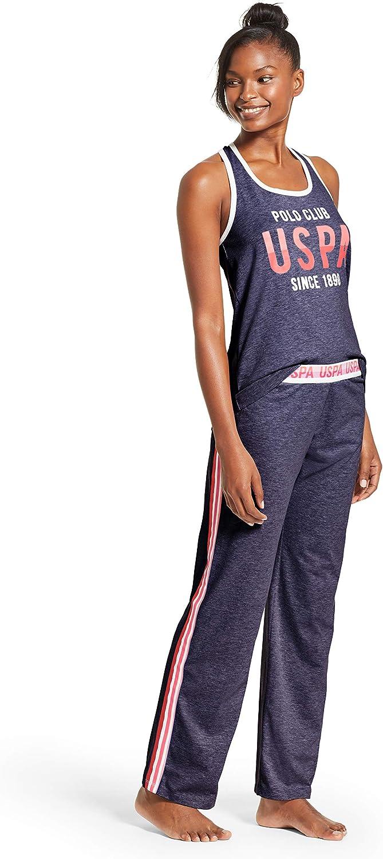 U.S Polo Assn Womens Racerback Tank Top and Pajama Pants Lounge Sleep Set