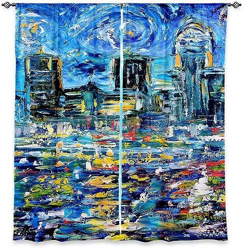 Dia Noche WCUKarenTarlStarryNight6 Unlined Window Curtains, 80W x 82H in