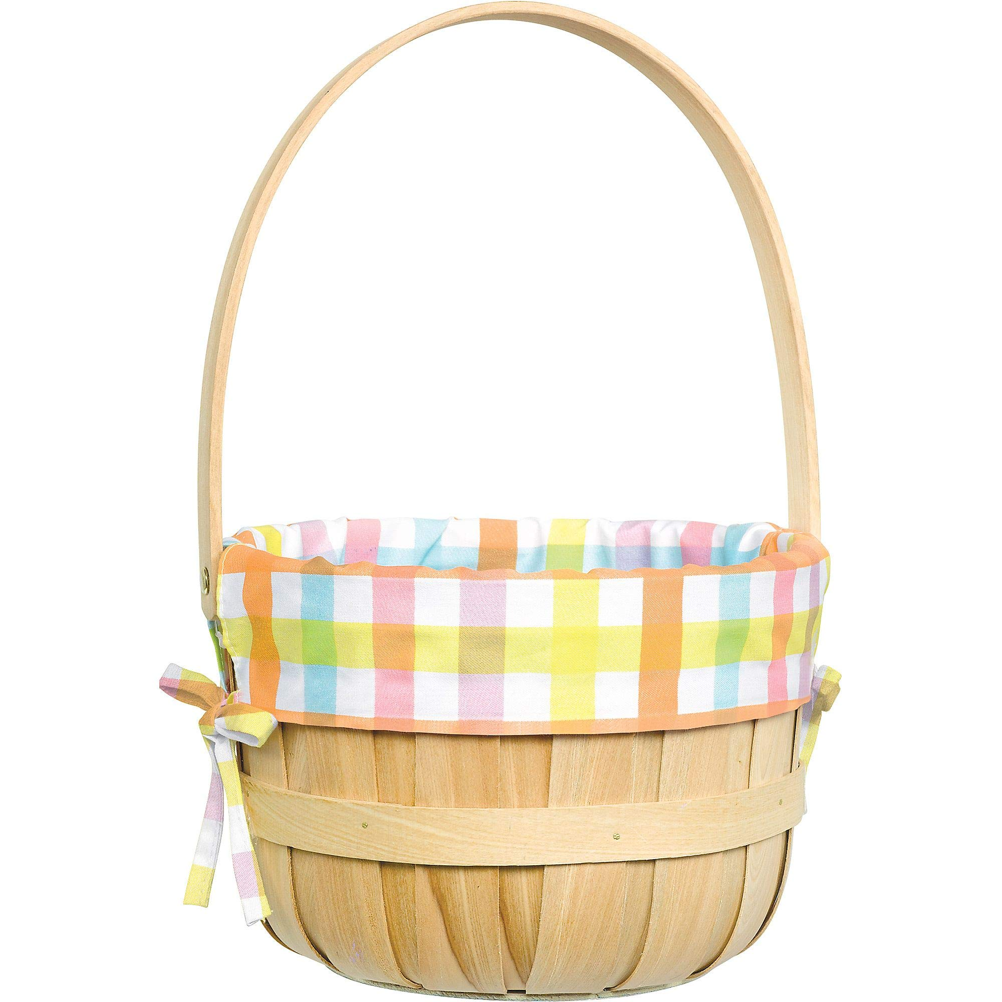 Amscan Round Pastel Plaid Liner Easter Basket 9 1/4 x 14 Inches