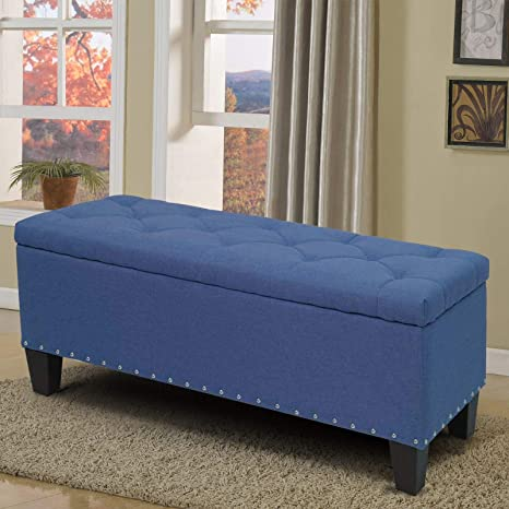 super popular 1150a f7b32 Magshion Rectangular Storage Ottoman Bench Tufted Footrest Lift Top Pouffe  Ottoman, Coffee Table, Seat, Foot Rest, and More (42'', Linen Navy Blue)
