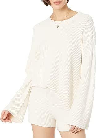 The Drop Alice Jersey Acanalado con Cuello Redondo Y Abertura En La Espalda Pullover-Sweaters Mujer