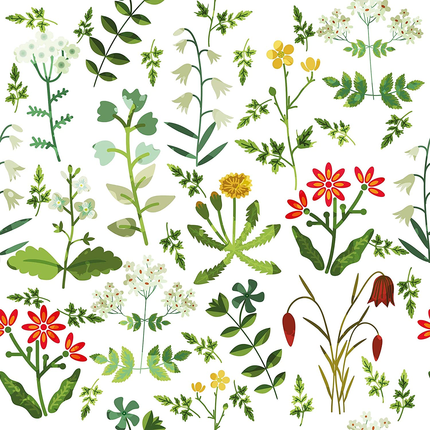 Wallsbyme Peel And Stick White Botanical Floral Fabric Removable