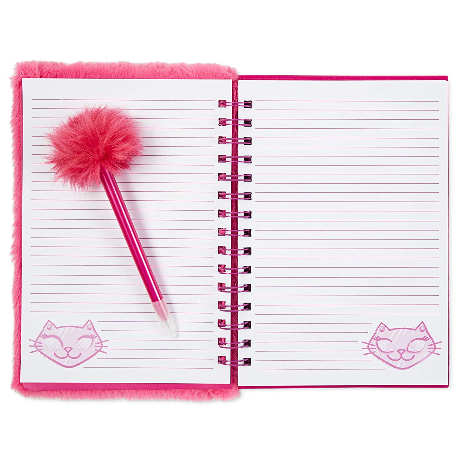 Plush Hardcover Diary and Purple Ballpoint Pen Covered In Faux Fur For Writing And Drawing Fuzzy Pink Spiral Bound Journal Notebook and Pen Set With Pretty Mermaid Design