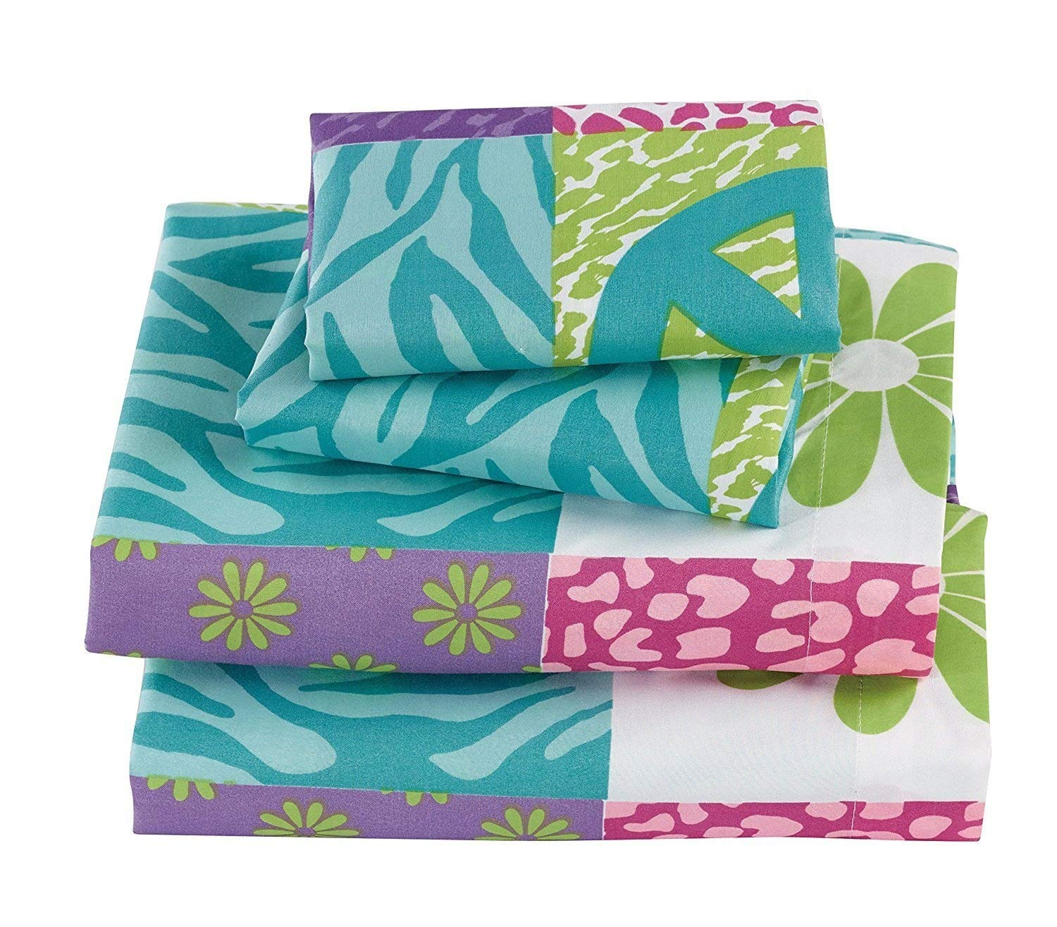 Fancy Collection 2Pc Bedspread Set Teens//Girls Safari Pink Purple Peace Sign New # Zebra Flower