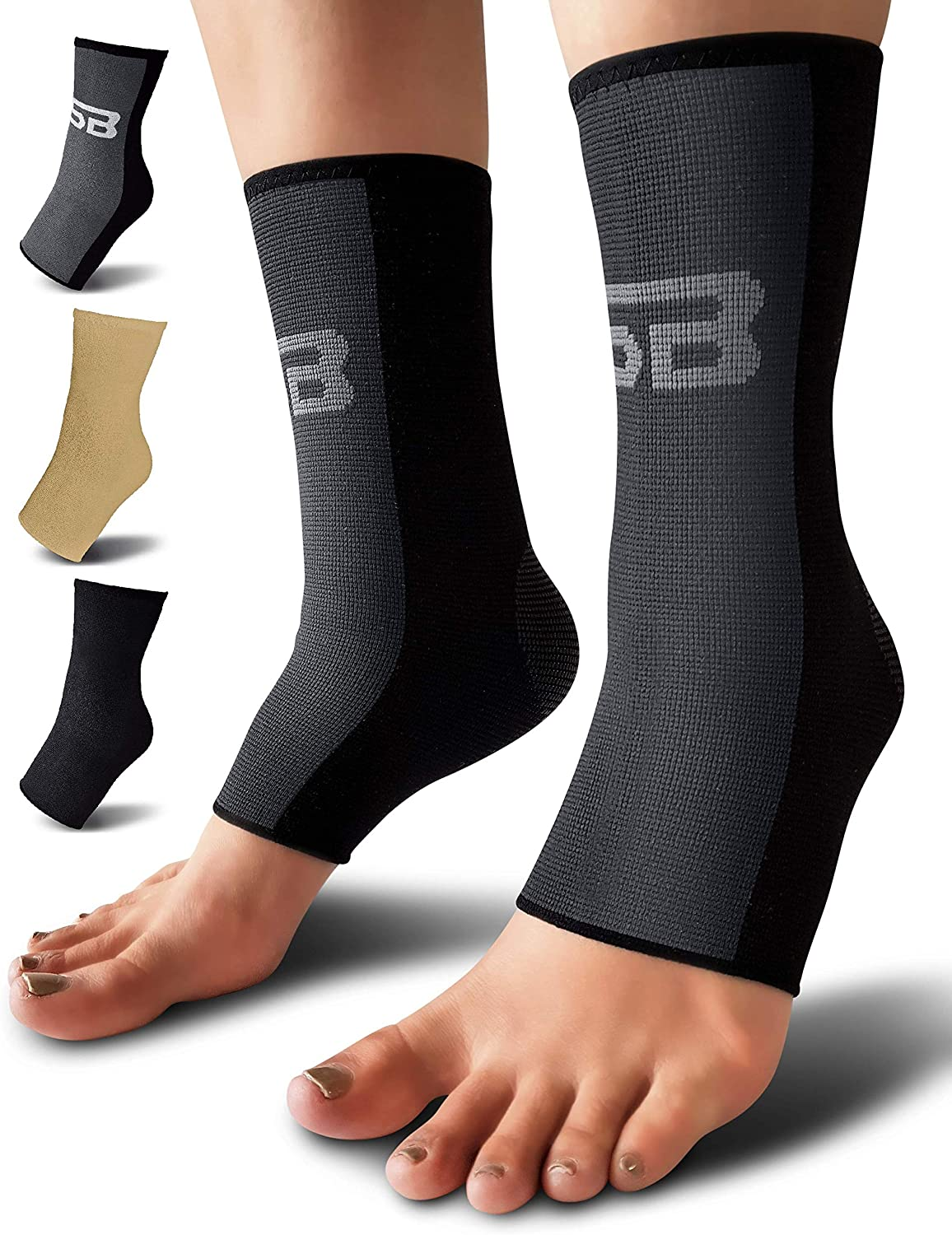 SB SOX Compression Ankle Brace (Pair) – Great Ankle Support That Stays in Place – For Sprained Ankle and Achilles Tendon Support – Perfect Ankle Sleeve for Sports, Any Use