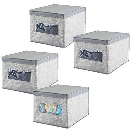 mDesign Organizador para armarios (juego de 4) – Cajas de plástico para ropa ,