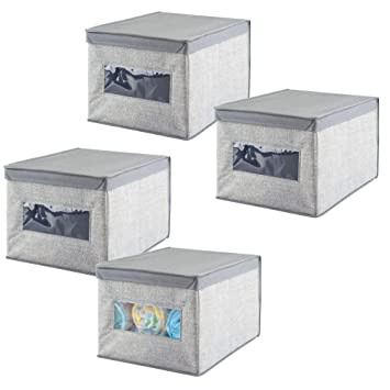 mDesign Organizador para armarios (juego de 4) - Cajas de plástico para ropa, joyas o cosméticos - Separador de cajones de color gris - Cajas con tapa: ...