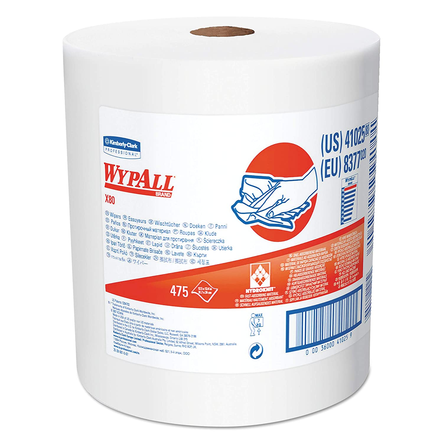 Wypall - 3600041025 WypAll 41025 X80 Cloths with HYDROKNIT, Jumbo Roll, 12 1/2w x 13.4 White, 475 Roll