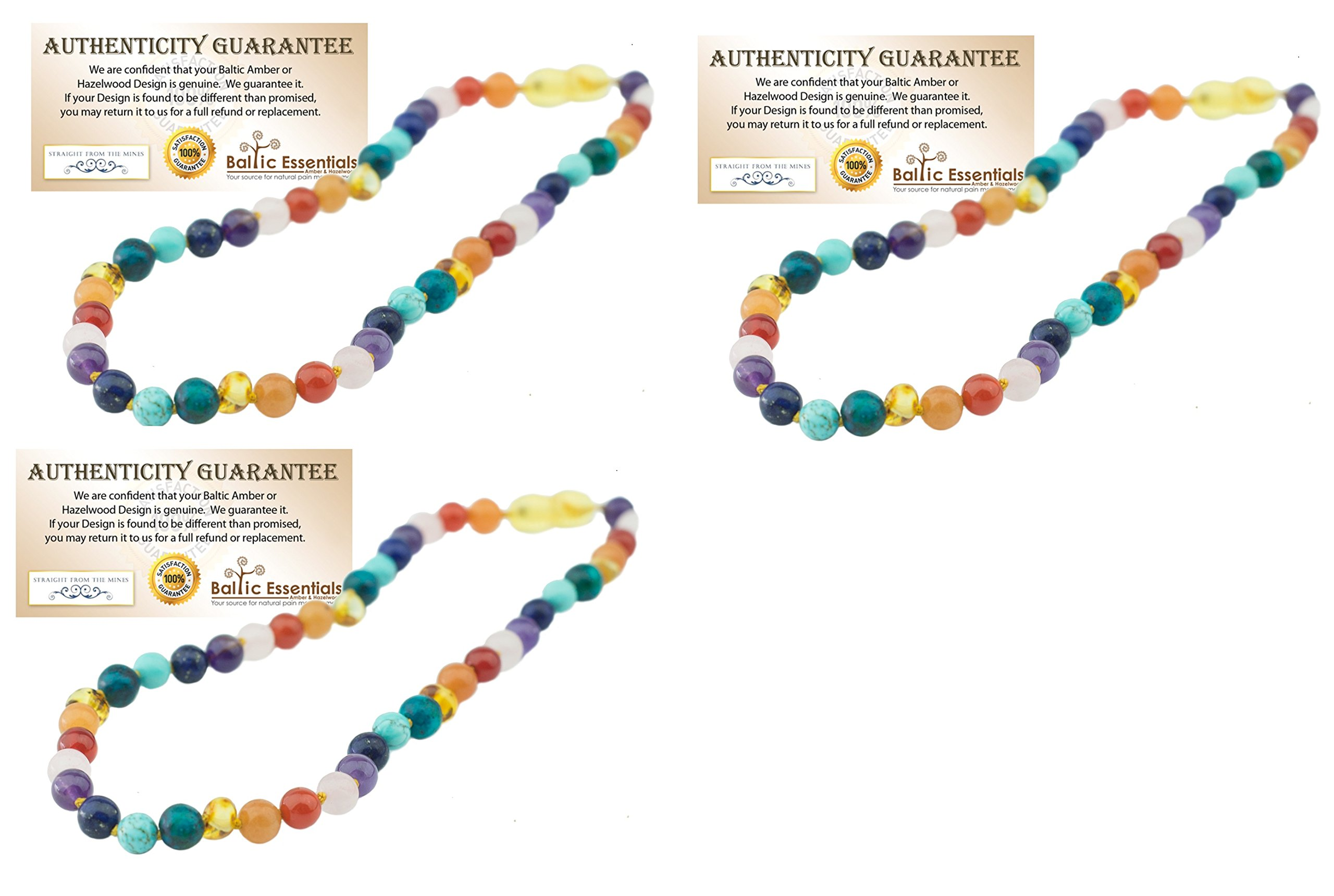 THREE Pack - Baltic Essentials 12.5 inch Baltic Amber Necklace Rainbow Honey Amber Pink Rose Quartz Red Agate Amethyst Aventurine Cyrsocolla Baby, Infant, Toddler, Big Kid. (3 Pack)