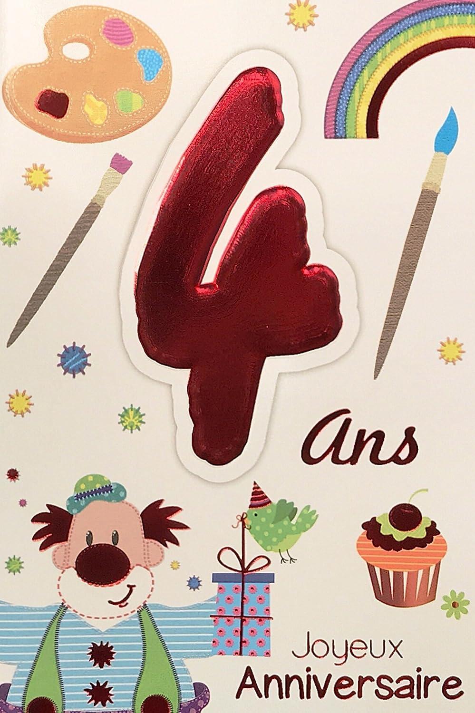 Age MV 69/ /2004/tarjeta cumplea/ños feliz 4/a/ños infantil ni/ño Ni/ña dise/ño payaso regalo p/ájaro pastel Cupcake pintura pinceles Multicolor