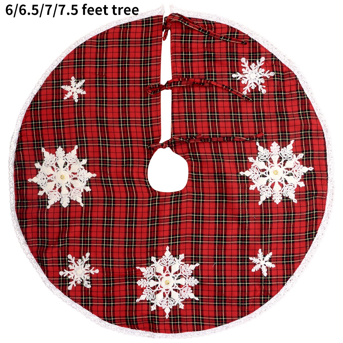 GRELUCGO Embroidered Snowflake Christmas Holiday Tree Skirt Double Thickness Red and Black Buffalo Plaid Baishuo Round 54 Inch