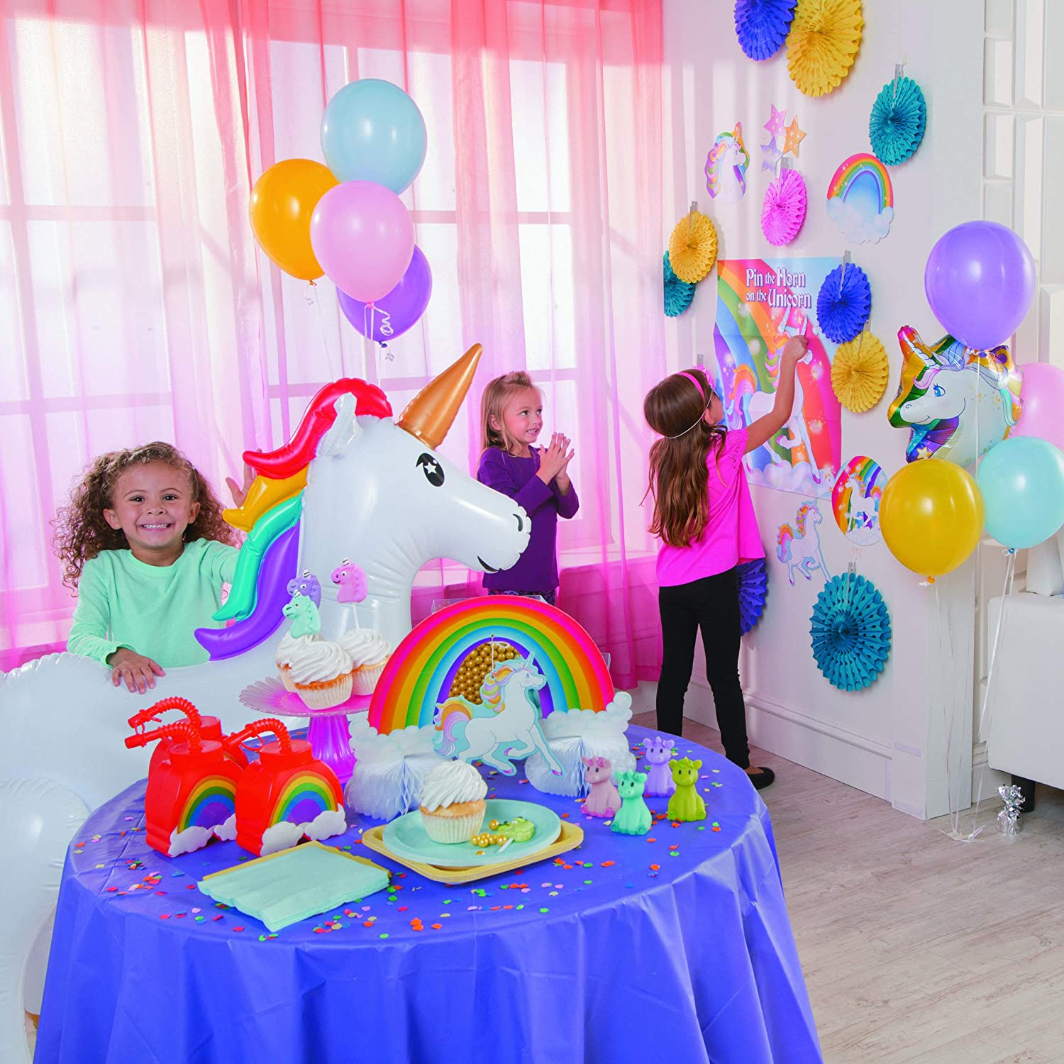 efdb184e09f Amazon.com  Fun Express Pin The Horn On The Unicorn Party Game  Toys   Games