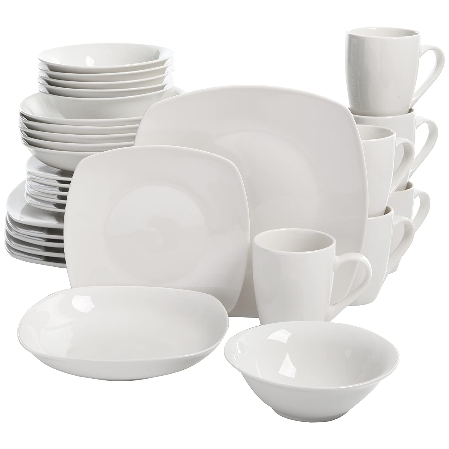 Amazon.com | Square Dinnerware Set 30 Piece Dish Set White Contemporary Square Dishes for the Home  Dinnerware Sets  sc 1 st  Amazon.com & Amazon.com | Square Dinnerware Set 30 Piece Dish Set White ...