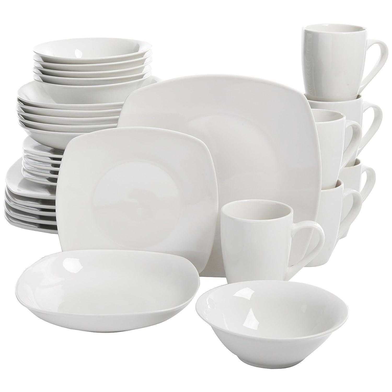 amazoncom  square dinnerware set  piece dish set white  - amazoncom  square dinnerware set  piece dish set white contemporarysquare dishes for the home  dinnerware sets