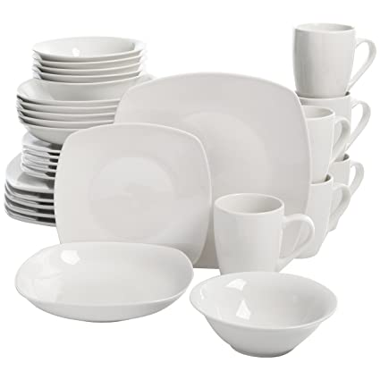 Square Dinnerware Set 30 Piece Dish Set White Contemporary Square Dishes for  sc 1 st  Amazon.com : black and white square dinnerware sets - pezcame.com