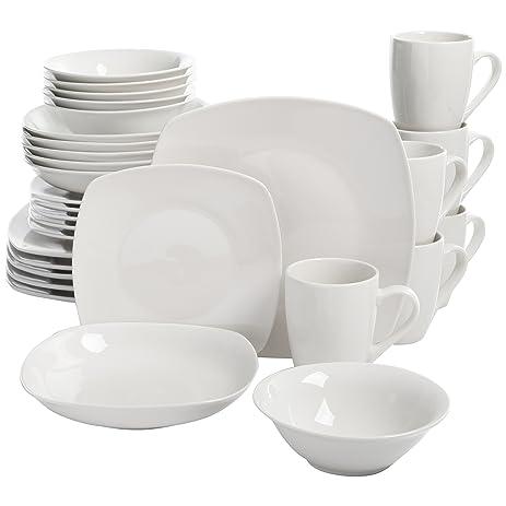 Square Dinnerware Set 30 Piece Dish Set White Contemporary Square Dishes for  sc 1 st  Amazon.com & Amazon.com | Square Dinnerware Set 30 Piece Dish Set White ...