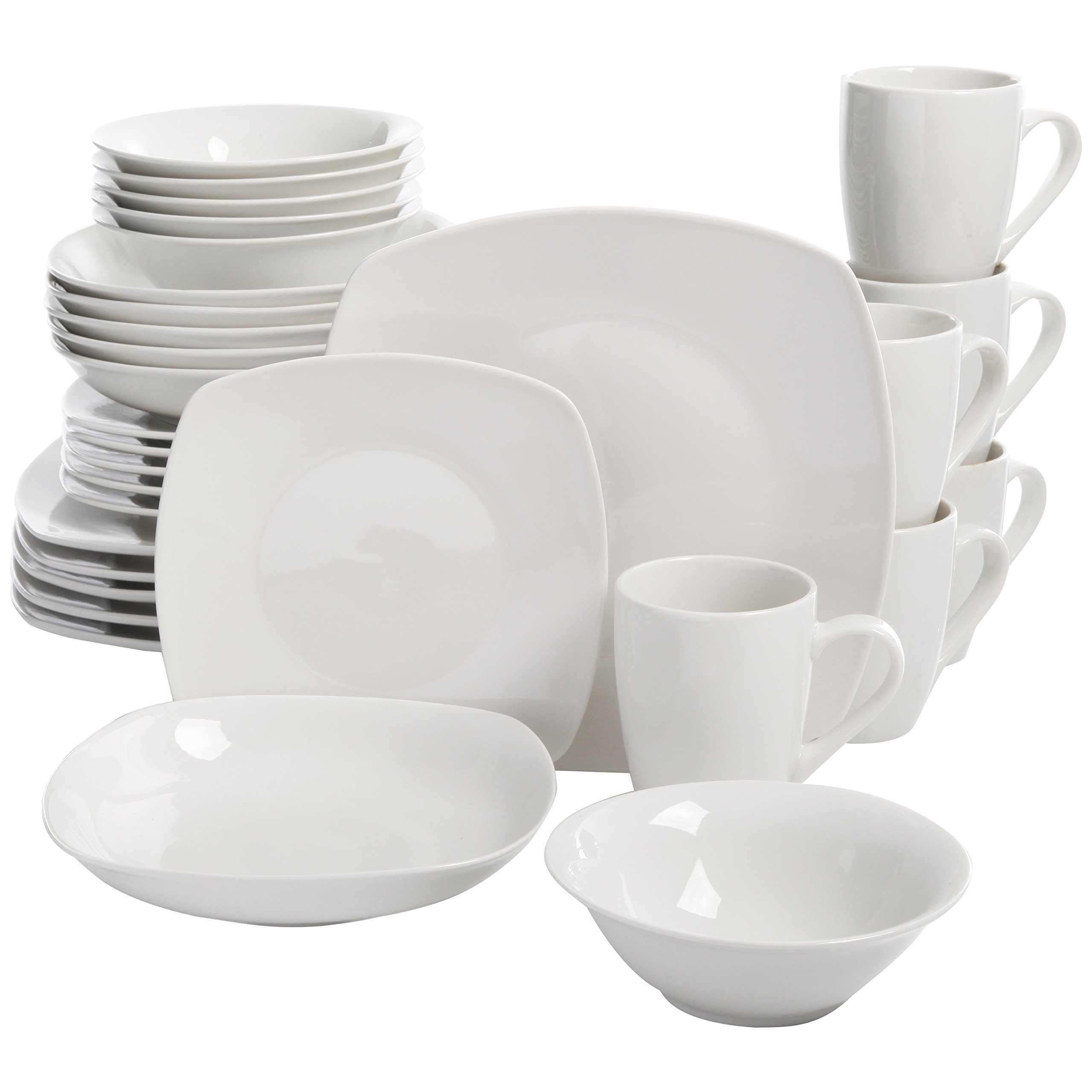 Square Dinnerware Set, 30 Piece Dish Set, White, Contemporary, Square Dishes for the Home,