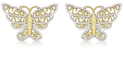 Carissima Gold Women's 9 ct Yellow Gold Butterfly Stud Earrings 1k8X1c