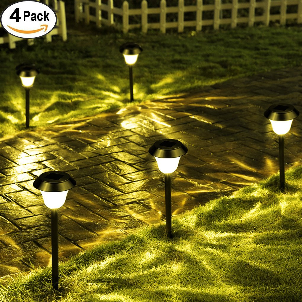 4 Pack Solar Pathway Lights, Outdoor Garden Lights, Super-Bright 15 Lumens, Landscape Lighting for Lawn, Patio, Walkway, Driveway(Warm White) Coconut M