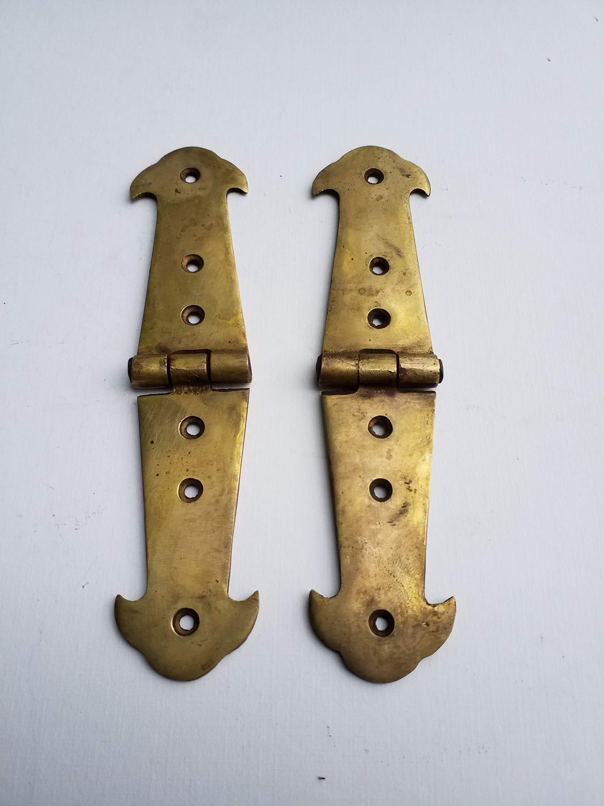 Pair Brass Rustic Hinges Antique Vintage Style Door Trunk Box Lid Long 6'' #X1 by Hardwarefinds