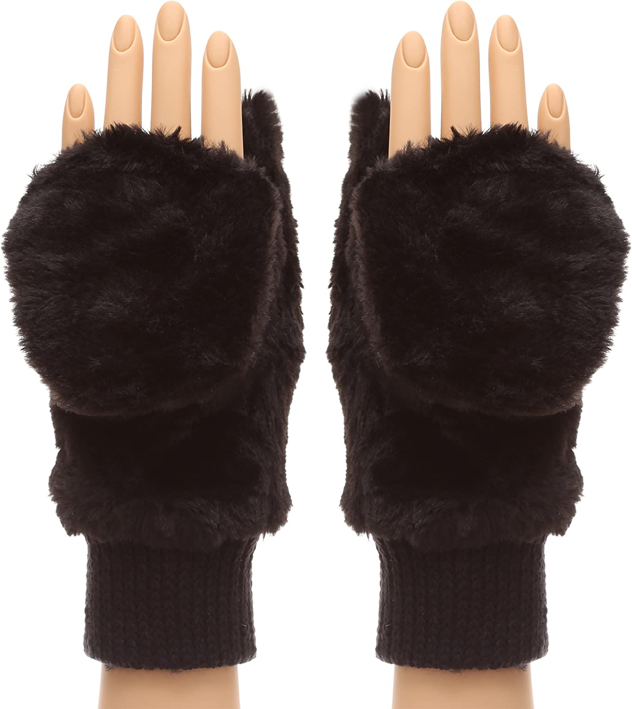 Womens Luxury Leopard Print Faux Fur Mittens Ladies Winter Gloves Hand Warmers