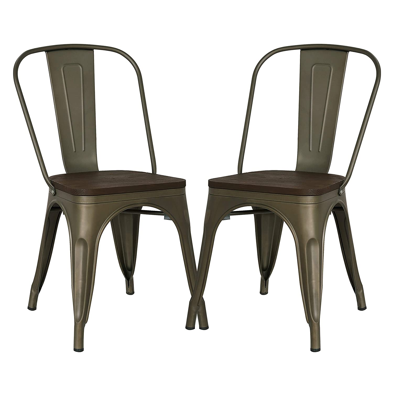 Poly and Bark Trattoria Kitchen and Dining Metal Side Chair with Elm Wood Seat in Bronze Set of 2