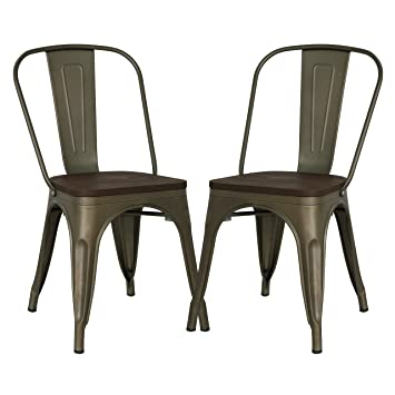 Amazon.com - Poly and Bark Tolix Style Bistro A Dining Side Chair (Set of 2, Bronze/Elmwood) - Chairs
