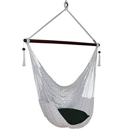 Large Caribbean Hammock Chair   48 Inch   Polyester   Hanging Chair   White
