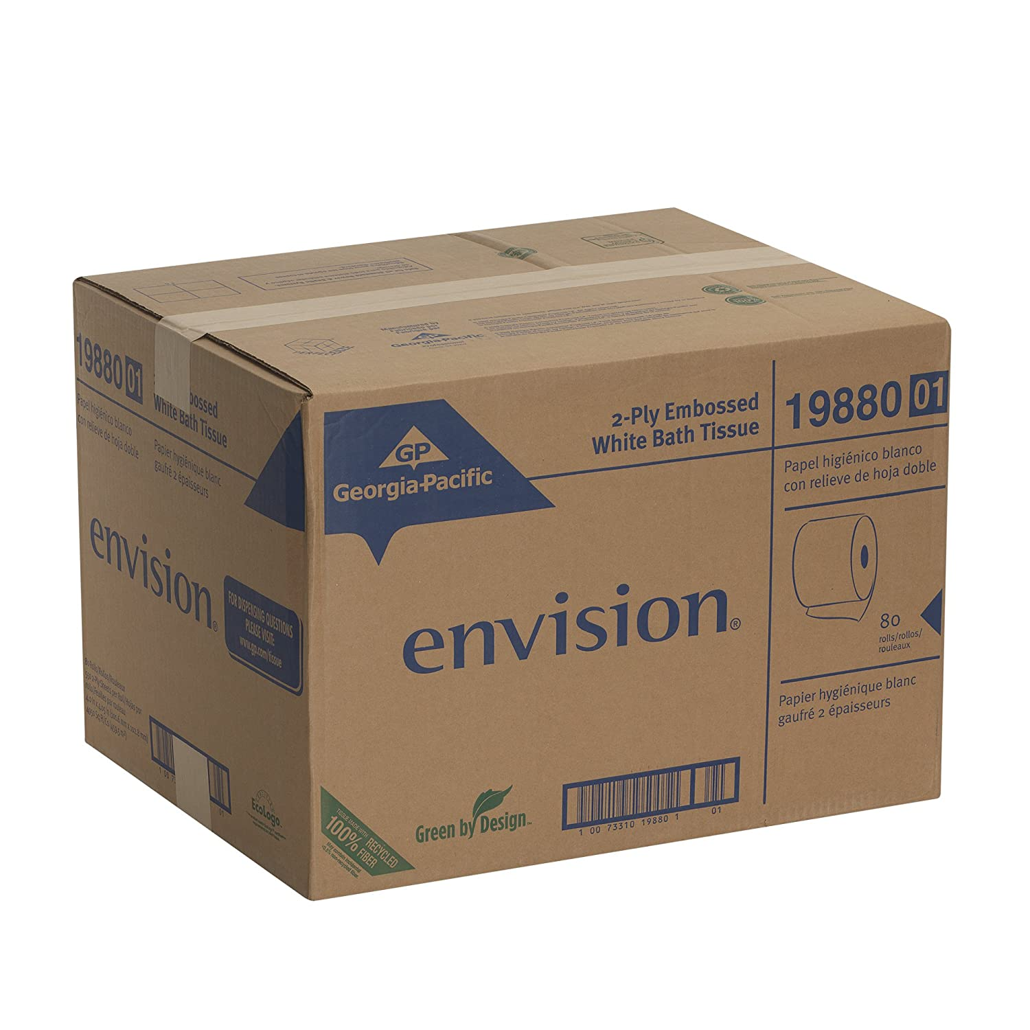 Amazon com  Georgia Pacific Envision 19880 01 White 2 Ply Embossed Bathroom  Tissue  4 05  Length x 4  Width  Case of 80 Rolls   Home Improvement. Amazon com  Georgia Pacific Envision 19880 01 White 2 Ply Embossed
