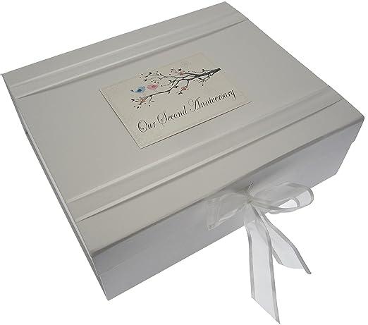 White Cotton Cards tamaño Grande diseño de pájaros 2nd Aniversario Caja para Recuerdos de bebé: Amazon.es: Hogar