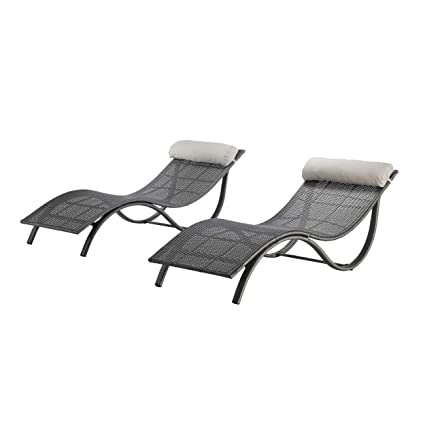 Michaelia Chaise Loungers for Patio, Modern, Gray Wicker with Light Gray Bolster Pillows (Set of 2)