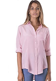 b8502af55613ea CAMIXA Womens 100% Silk Blouse Long Sleeve Ladies Shirts Slim-fit Button Up  Pure