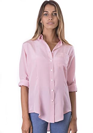 cc2de2781 CAMIXA Womens 100% Silk Blouse Long Sleeve Ladies Shirts Slim-fit Button Up  Pure