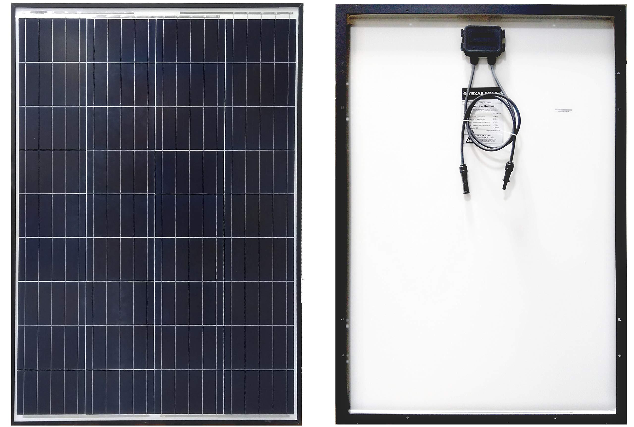 Texas Solar 100 Watt Polycrystalline 100W 12V Poly Solar Panel Module RV Marine Boat Yacht Off GridWaterproof Hail-Proof by Texas Solar