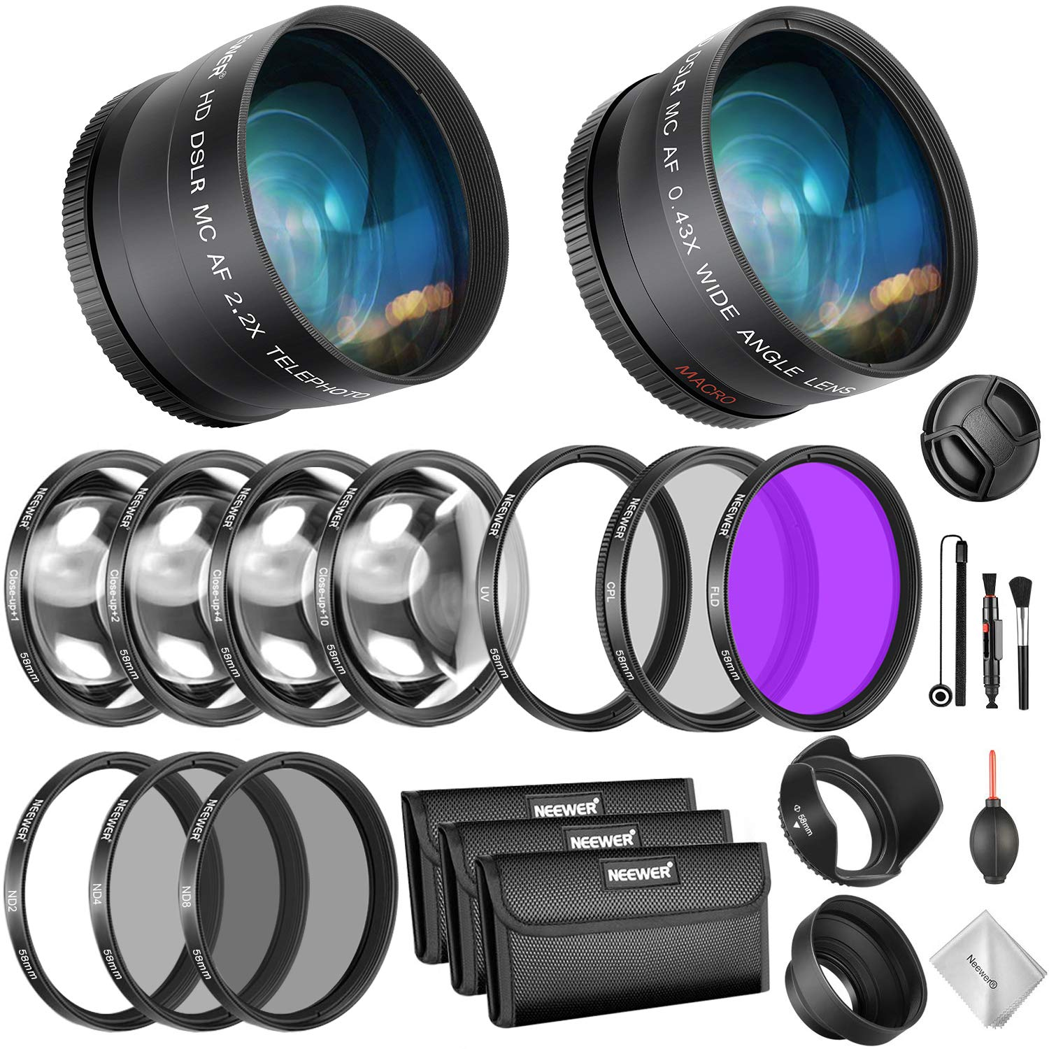 Neewer 58mm Lens and Filter Bundle: Wide Angle Lens, Telephoto Lens and Filter Set (Macro, ND, UV, CPL, FLD) for Canon EOS Rebel T7i SL2 T6i T6s T6 T5i T5 T3i 80D 77D 70D 60D Cameras with 58mm Lenses by Neewer