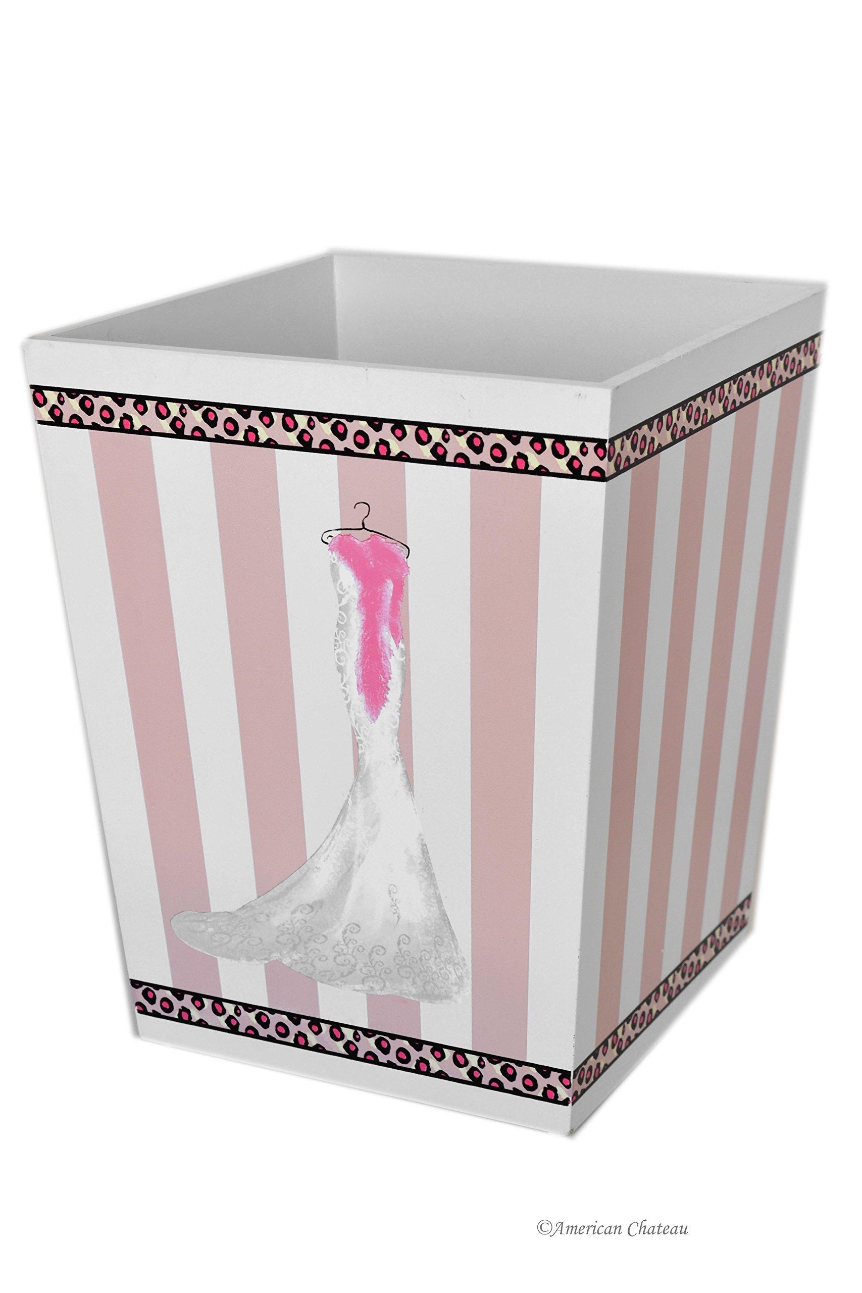 American Chateau Large Wood 9.75'' Glam Dress-Shop Pink & White Waste Basket Trash Garbage Can