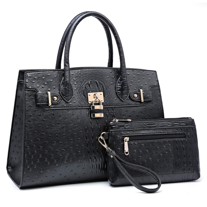 Women Handbags and Purses Ladies Shoulder Bag Ostrich Top Handle Satchel Tote Work Bag with Wallet (Black)