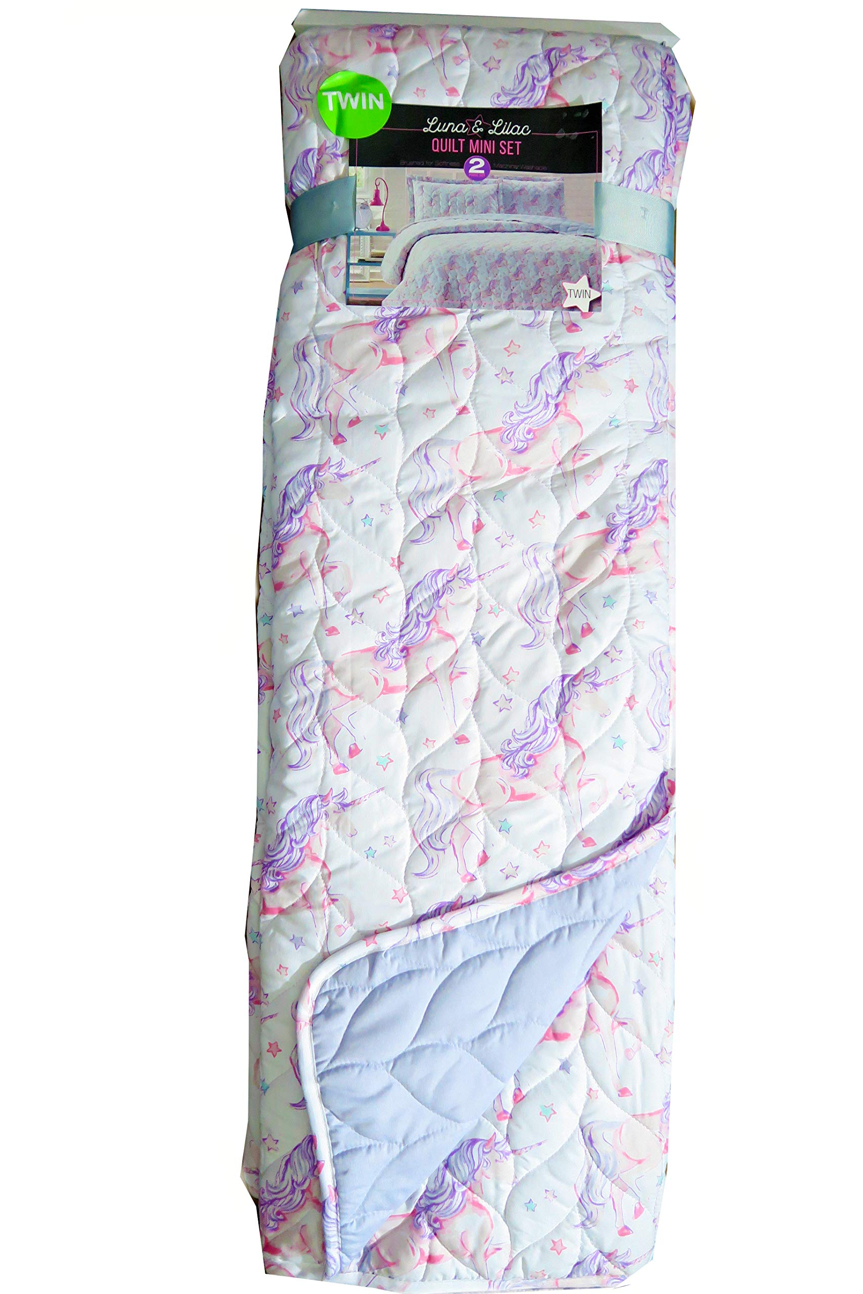 Lila & Lunac Quilt Set Pink Unicorns with Purple Hair On Starry White Background (Twin)