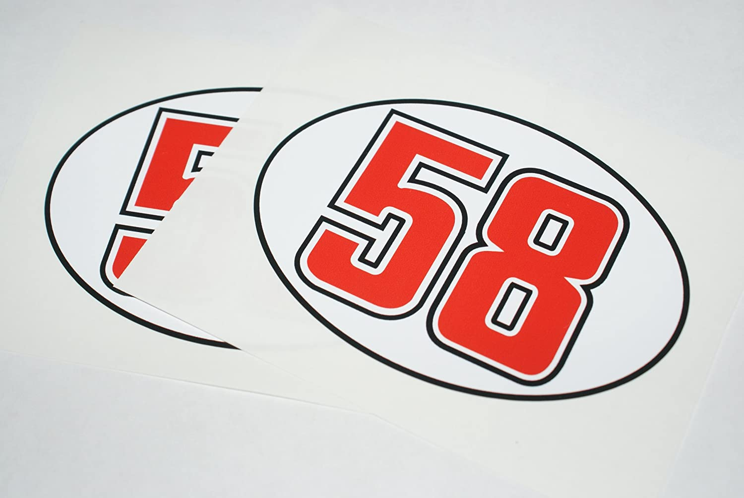 Marco Simoncelli Number 58 Helmet Decals pair